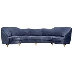 Boomerang Blue Sofa in Velvet, 1950s