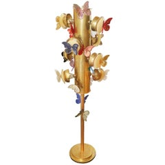 Butterflies Murano Floor Lamp in Solid Brass