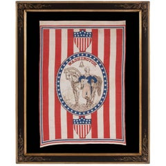 1876 Centennial Celebration Parade Banner with George Washington and his Horse