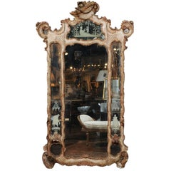 18th Century Venetian Rococo Painted and Etched Mirror with Gilded Frame