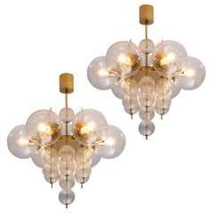 Set of Two Brass and Glass Chandeliers