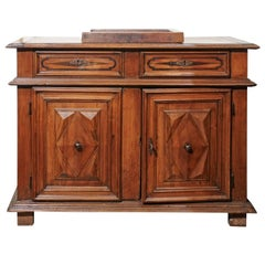Italian 19th Century Walnut Vanity Buffet with Doors and Raised Diamond Motifs