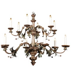 Italian Silver Gilt and Painted Tole 12-Light Chandelier from the Tuscany Region