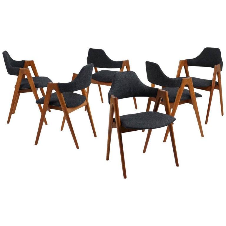 Set of Six Kai Kristiansen Teak Dining Chairs 1960s Model Compass SVA Møbler