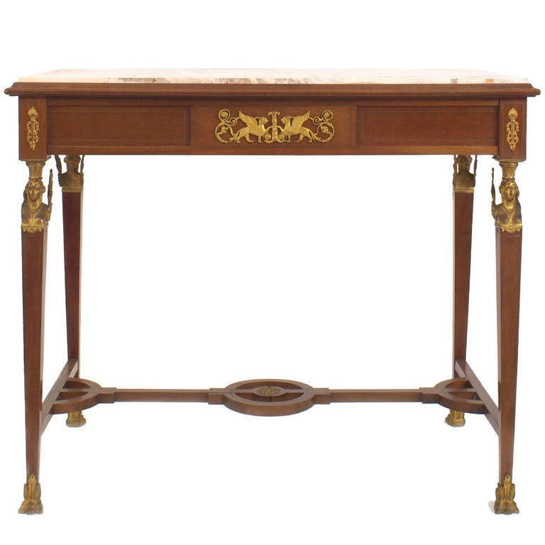 French Empire Style '19th Century' Mahogany and Bronze Trimmed Centre Table