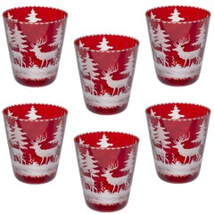 Black Forest Set of Six German Tumblers in Red with Hunting Scene Sofina