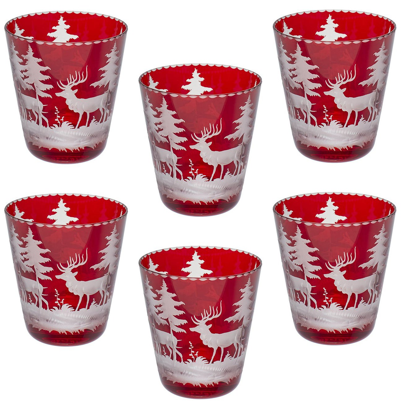Black Forest Set of Six Glass Tumblers Red Sofina Boutique Kitzbuehel