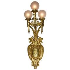 French Belle Époque 19th/20th Century Gilt-Bronze Three-Light Wall Light, Sconce