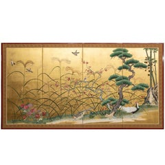 Japanese Four-Panel Screen, Pine, Plum and Bamboo with Pheasant