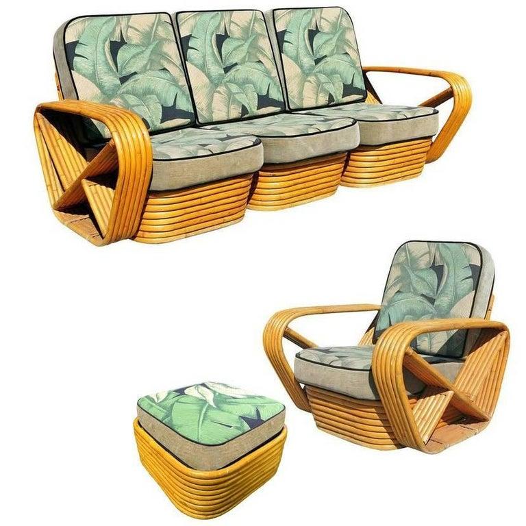 Restored Midcentury Rattan and Mahogany Living Room Seating Set ** Saturday Sale