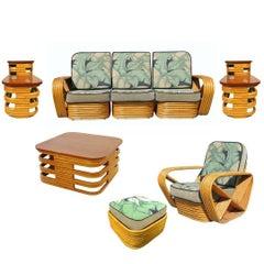 Restored Midcentury Rattan and Mahogany Living Room Set