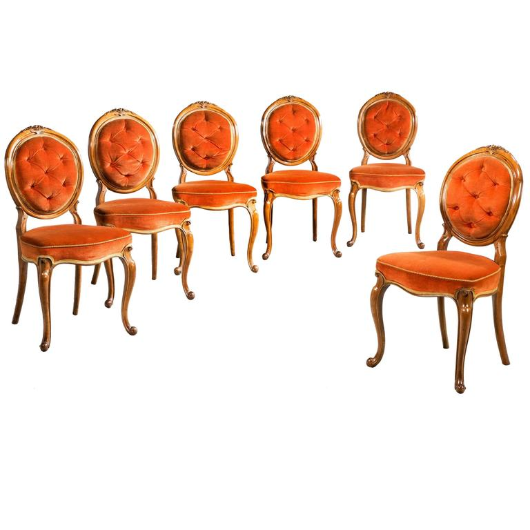 Set of Six 19th Century Satin Birch Dining Chairs For Sale