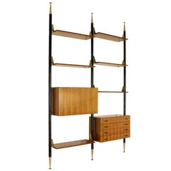 Bookcase Mahogany Brass Metal Vintage, Italy, 1950s-1960s