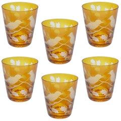 Modern German Set of Six Tumbler Glasses in Amber with Birds Sofina Kitzbuehel