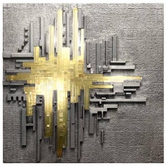 Cast Aluminium and Glass Illuminated Wall Sculpture by Poliarte
