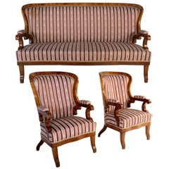 Seating Set Biedermeier, Sofa and Two Armchairs, 1870s