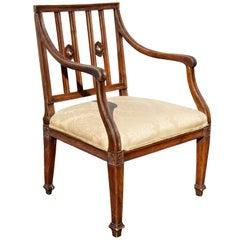 Italian Neoclassic Walnut Armchair