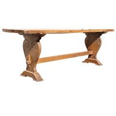 Italian Baroque Walnut Trestle Table