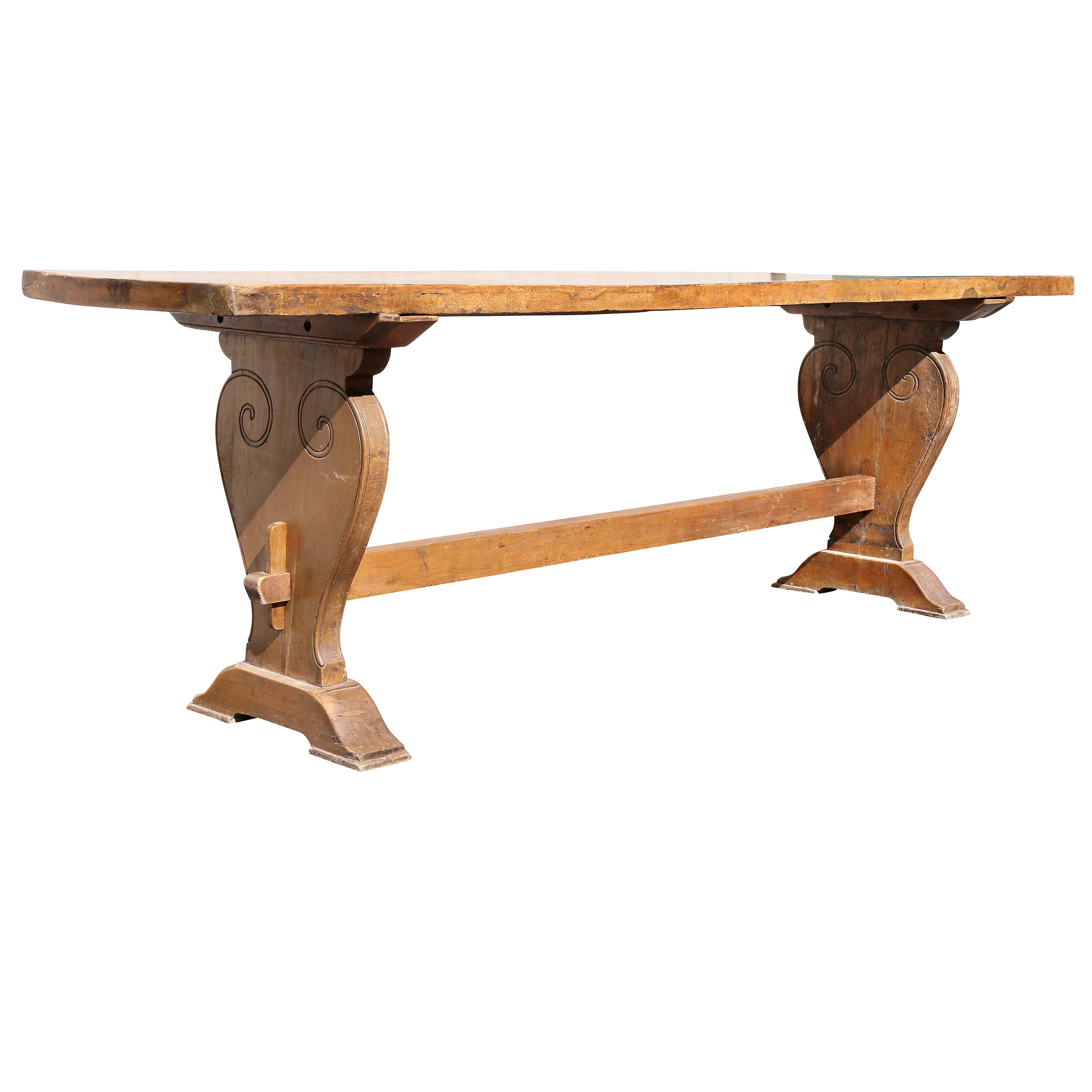 Italian Baroque Walnut Trestle Table
