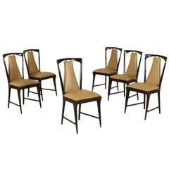 Six Chairs by Osvaldo Borsani Stained Wood Vintage, Italy, 1950s-1960s
