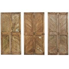Set of Three Hinged-Pairs of Carved Wood European Rustic Doors