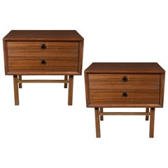 Pair of Mid-Century Modern Bookmatched Walnut Nightstands with Brass Pulls