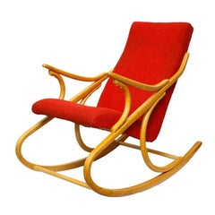 Rocking Chair  from TON Former Thonet, in Red Fabric, 1960s