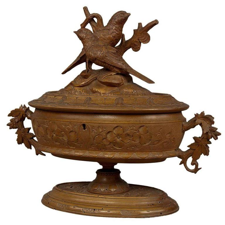 Antique Wooden Carved Casket with Birds from Brienz