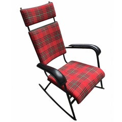 Jacques Adnet 1950s Rare Tartan Rocking Chair