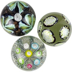 Fratelli Toso Murano Millefiori Flowers Ribbons Italian Art Glass Paperweights