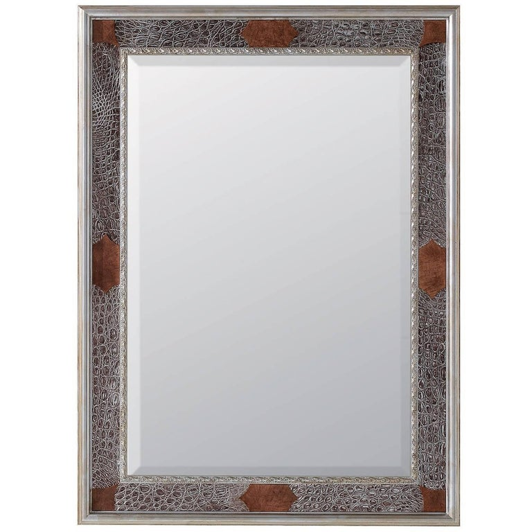 Crocodile Mirror with Silver Leaf For Sale