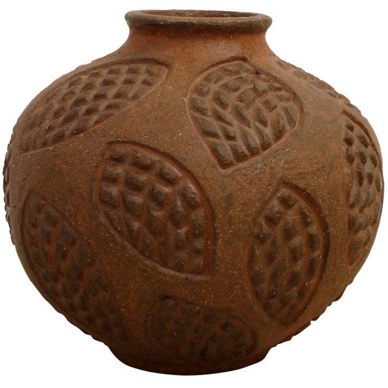 Axel Salto Circular Roche Stoneware Vase for Royal Copenhagen