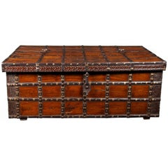 Decorative Large Antique Anglo-Indian Trunk, Coffee Table