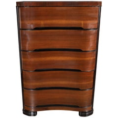 Art Deco Machine Age Bookmatched Mahogany & Black Lacquer Streamlined High Chest