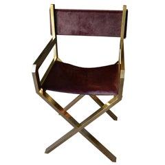 Director's Chair in Brass and Purple Calf Leather, France, Late 1970s