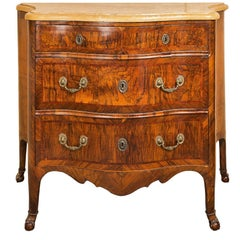 Walnut Veneered Chest of Drawers, Yellow Marble Top, Naples, 18th Century