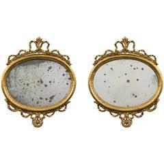 Pair of Italian 18th Century Louis XVI Period Giltwood Mirrors