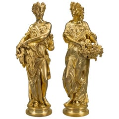 True Pair of French 19th Century Ormolu Statues, Signed E. Dubois