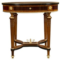 French 19th Century Louis XVI Style Marquetry Top Table with One Drawer