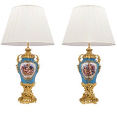 True Pair of French 19th Century Louis XV St. Sèvres Porcelain Lamps
