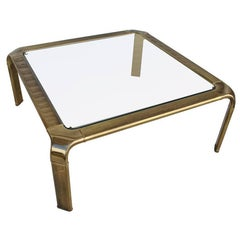 Vintage Midcentury Waterfall Brass Coffee Table by Widdicomb