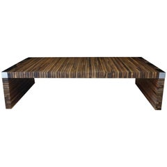 Costantini Argilla Table with Argentine Rosewood Slats and Nickel-Plated Details