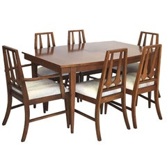 Mid-Century Modern Table and Six Chairs in the Brasilia Style