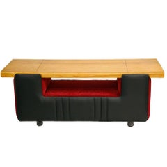Mid-Century Modern Czech Bench on Wheels, 1960s