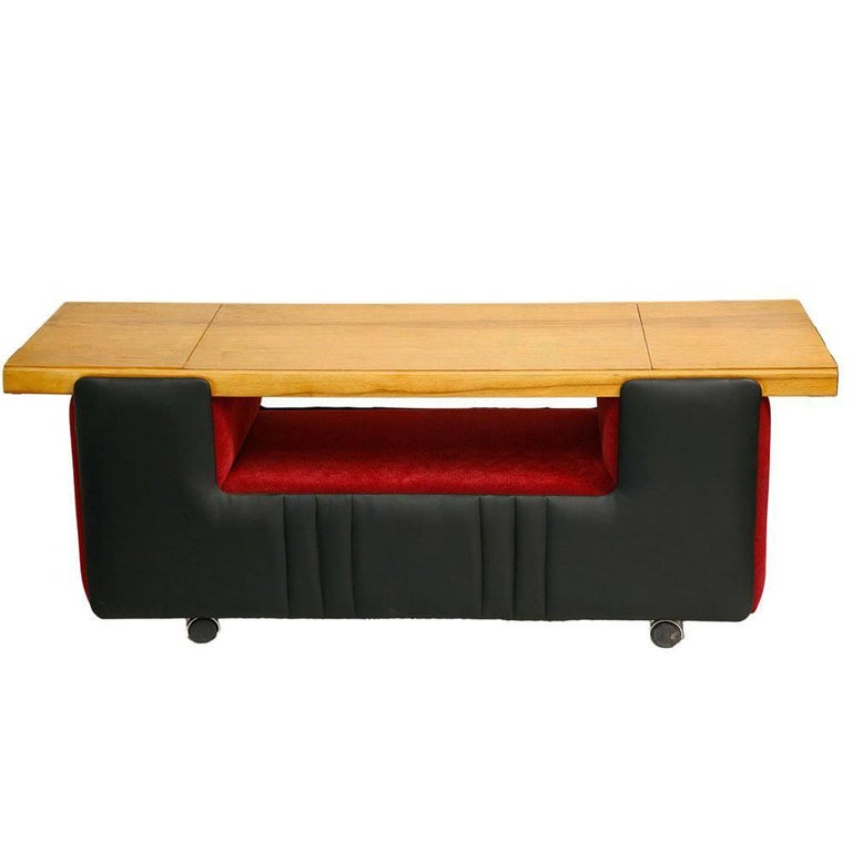 Movable Bench on Wheels, Black and Red, Czech, 1960s