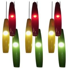 Three-Light Pendant Chandelier by Alessandro Pianon for Vistosi, Murano, 1960