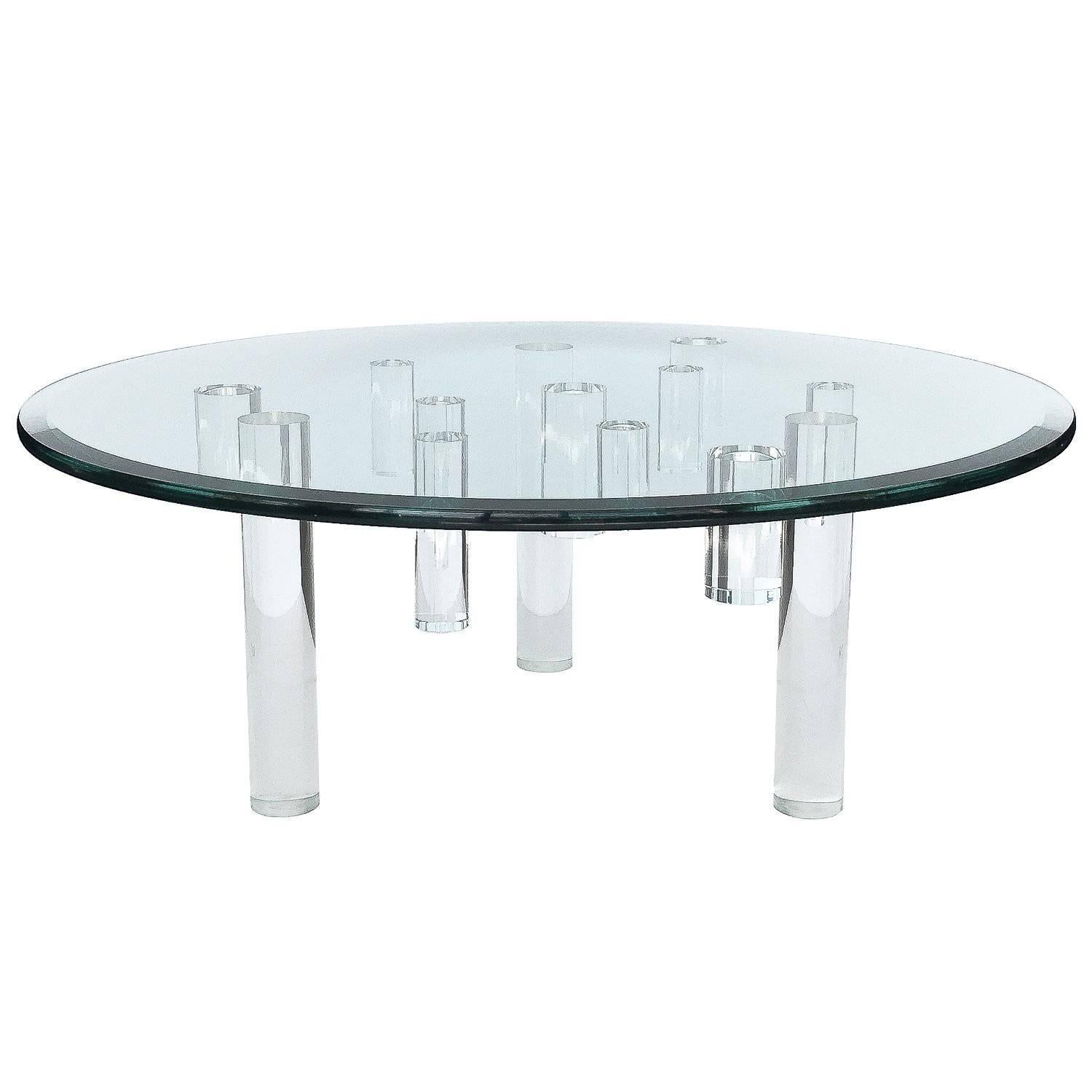 Round Coral Lacquer Modern Coffee Table Topped With Lucite Top