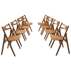 Hans J. Wegner Set of 'Sawbuck' Chairs for Carl Hansen