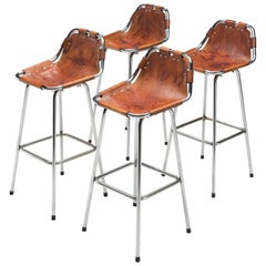 Cognac Leather Stools Selected by Charlotte Perriand