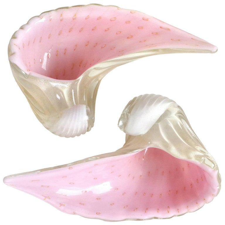 Alfredo Barbini Murano White Pink Gold Flecks Italian Art Glass Seashell Bowls